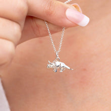 Personalised Silver Triceratops Necklace - Lily Charmed