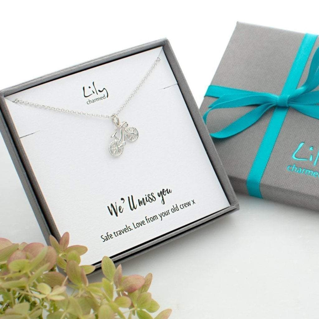 Personalised Silver Bicycle Necklace - Lily Charmed