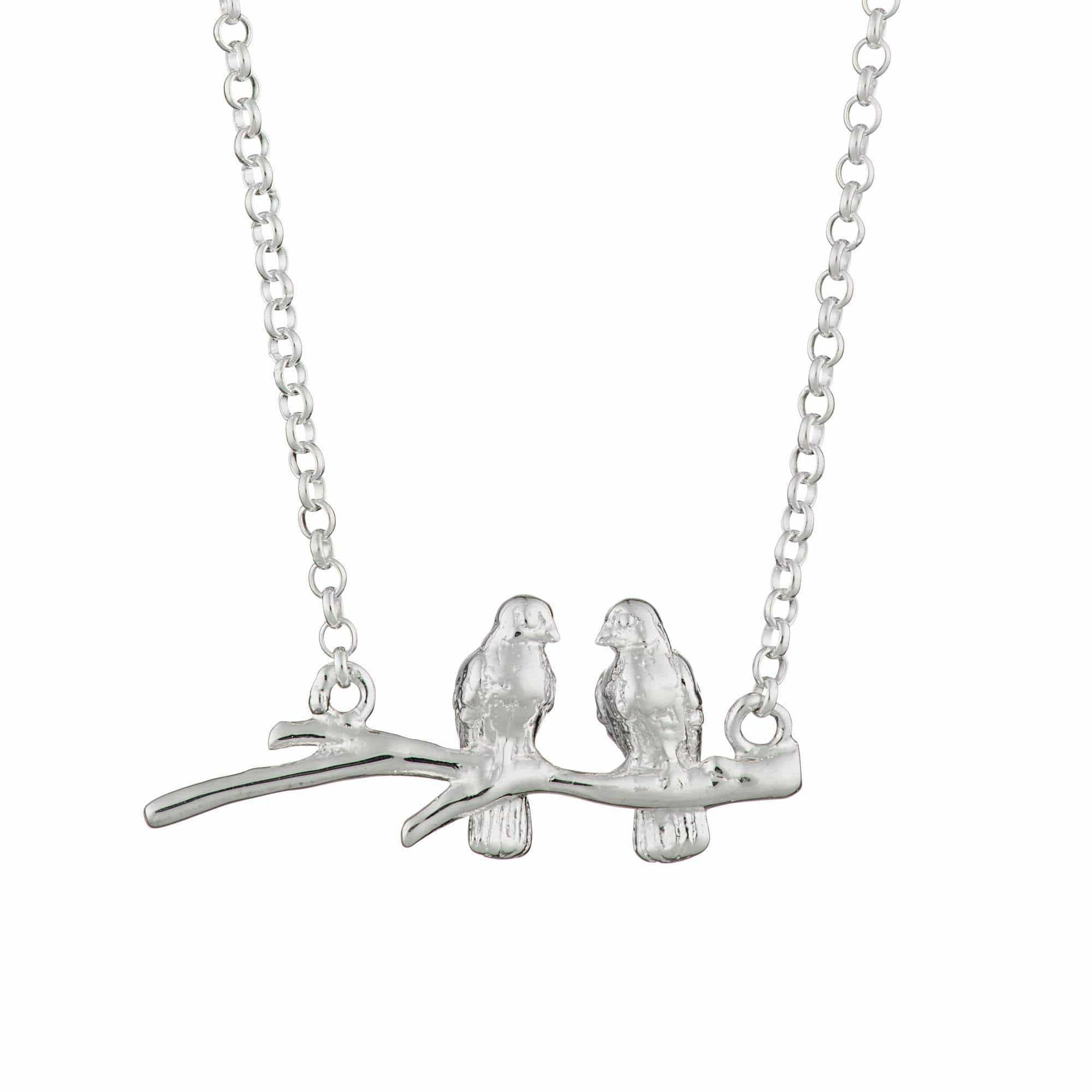 Personalised Silver Birds on a Branch Necklace - Lily Charmed