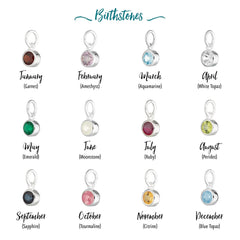Engraved Heart & Birthstone Necklace