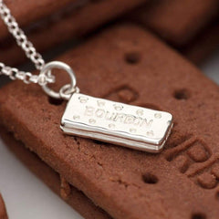 Personalised Silver Bourbon Biscuit Necklace