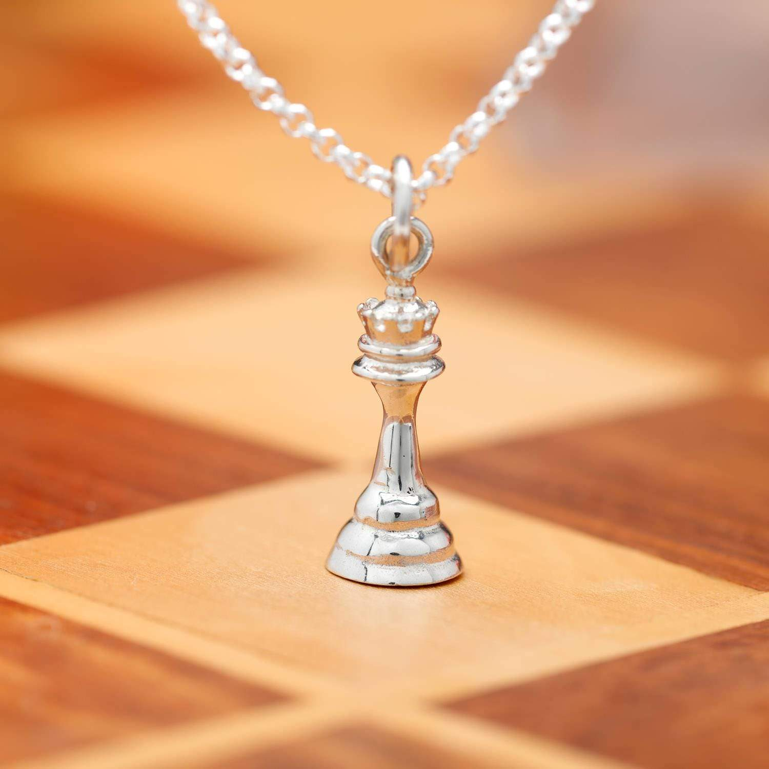 Personalised Silver Chess Piece Necklace - Lily Charmed