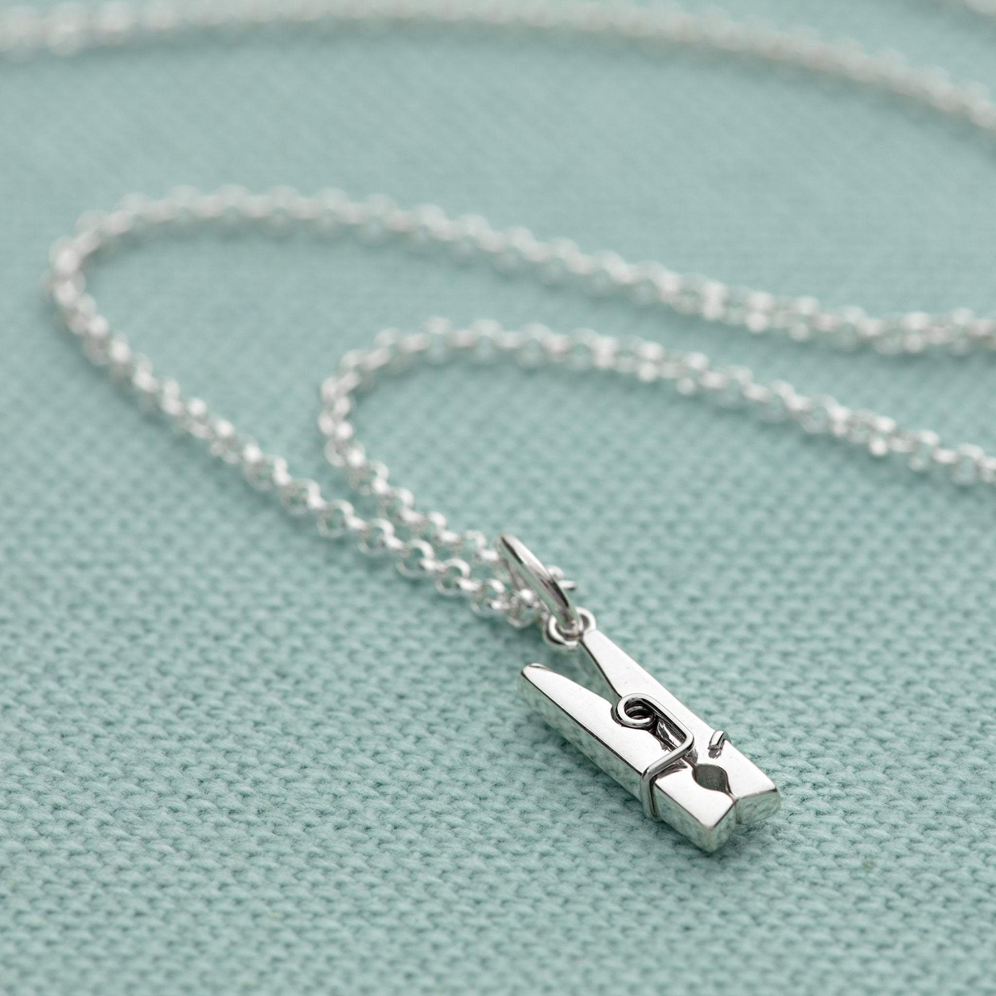 Personalised Silver Clothes Peg Necklace - Lily Charmed
