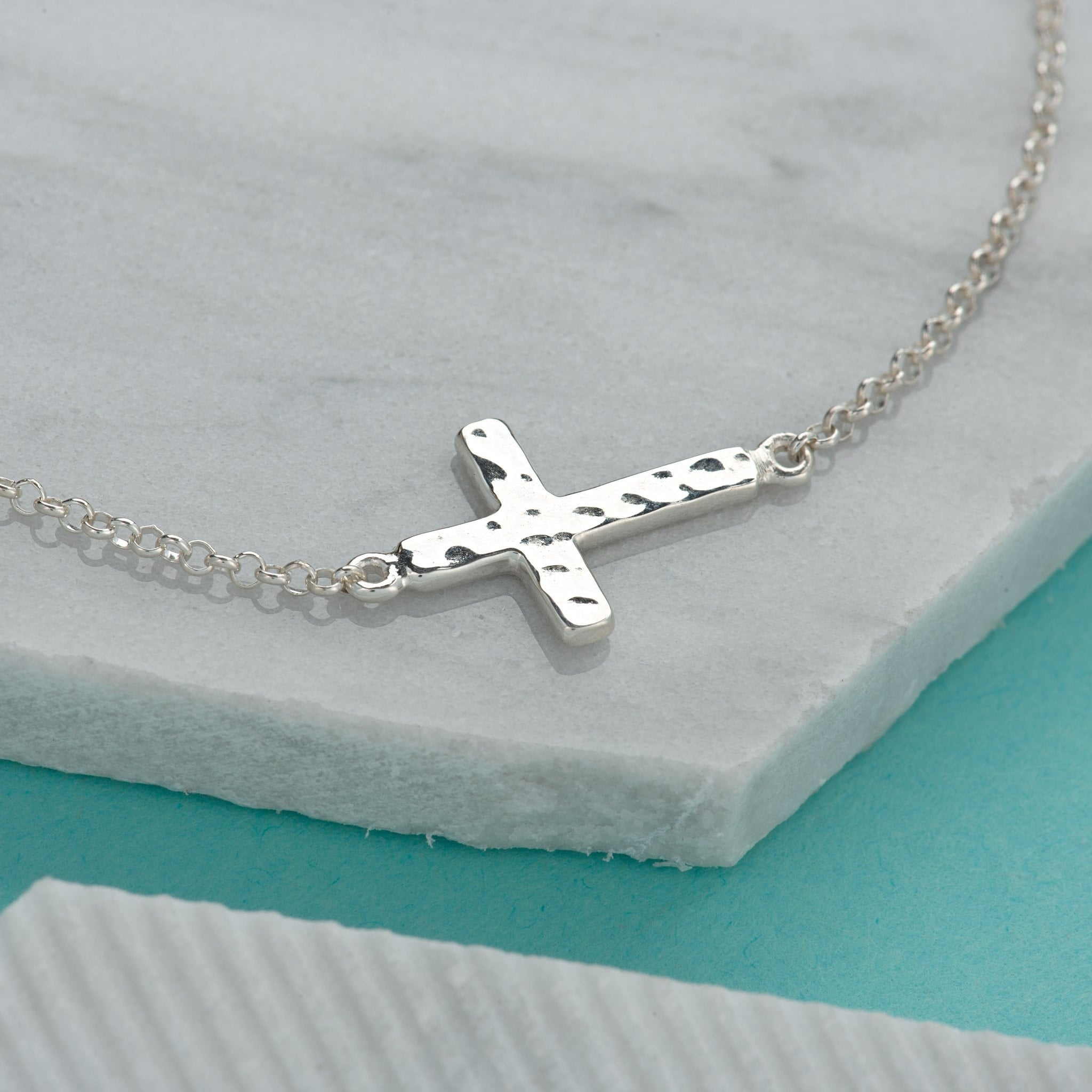 Personalised Silver Cross Bracelet - Lily Charmed