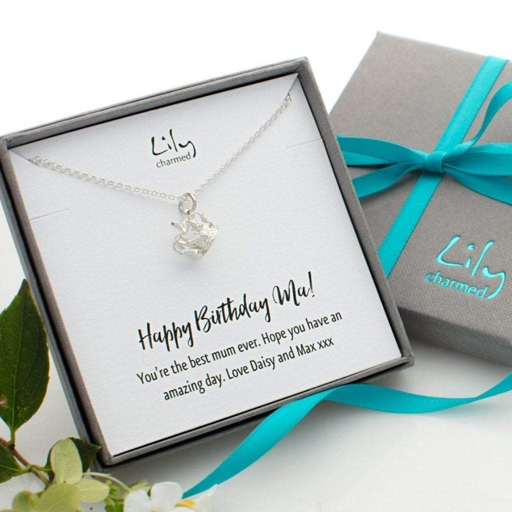 Personalised Silver Crown Necklace - Lily Charmed