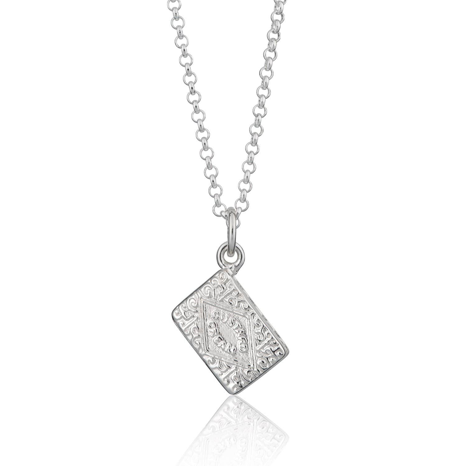 Personalised Silver Custard Cream Necklace
