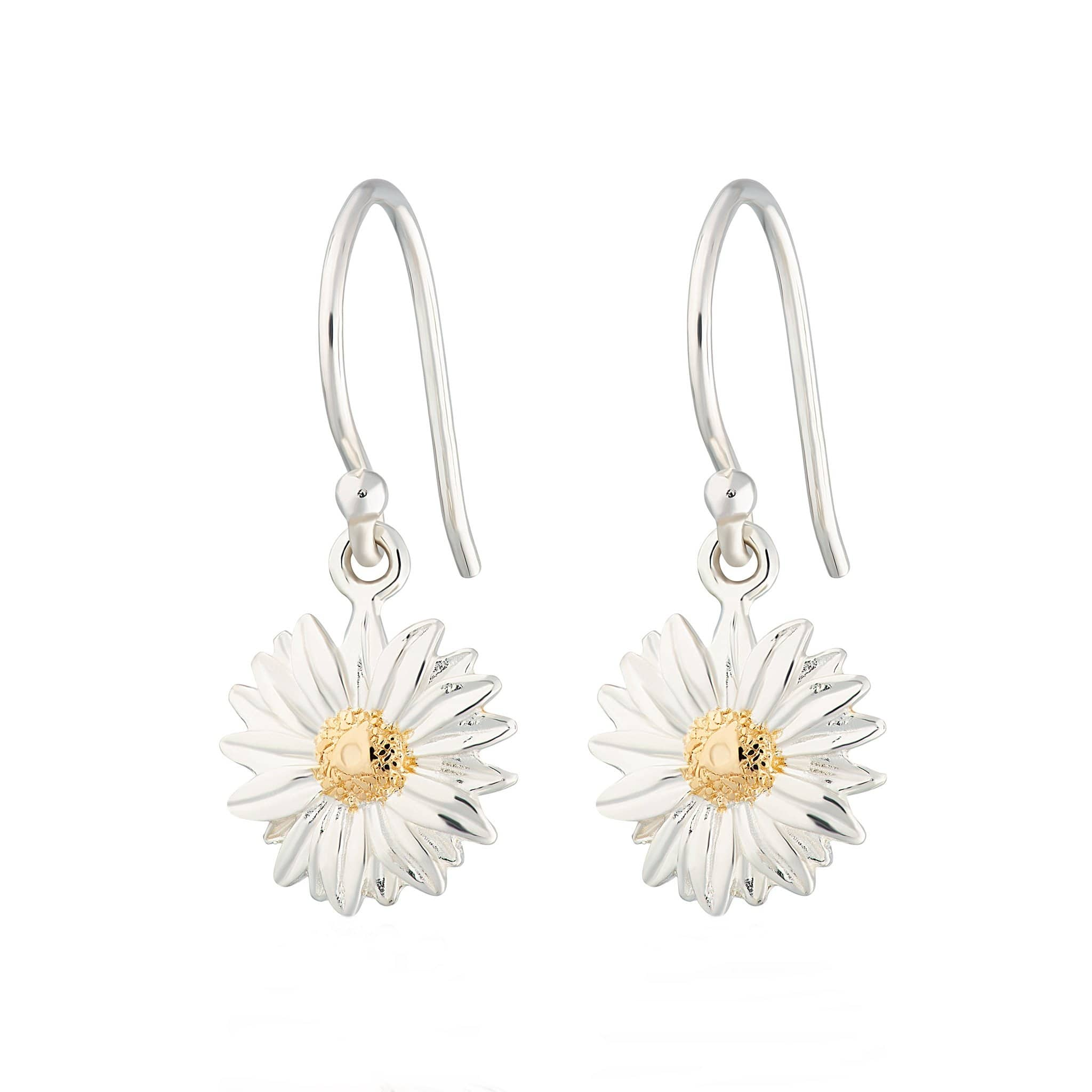 Silver Daisy Hook Earrings - Lily Charmed