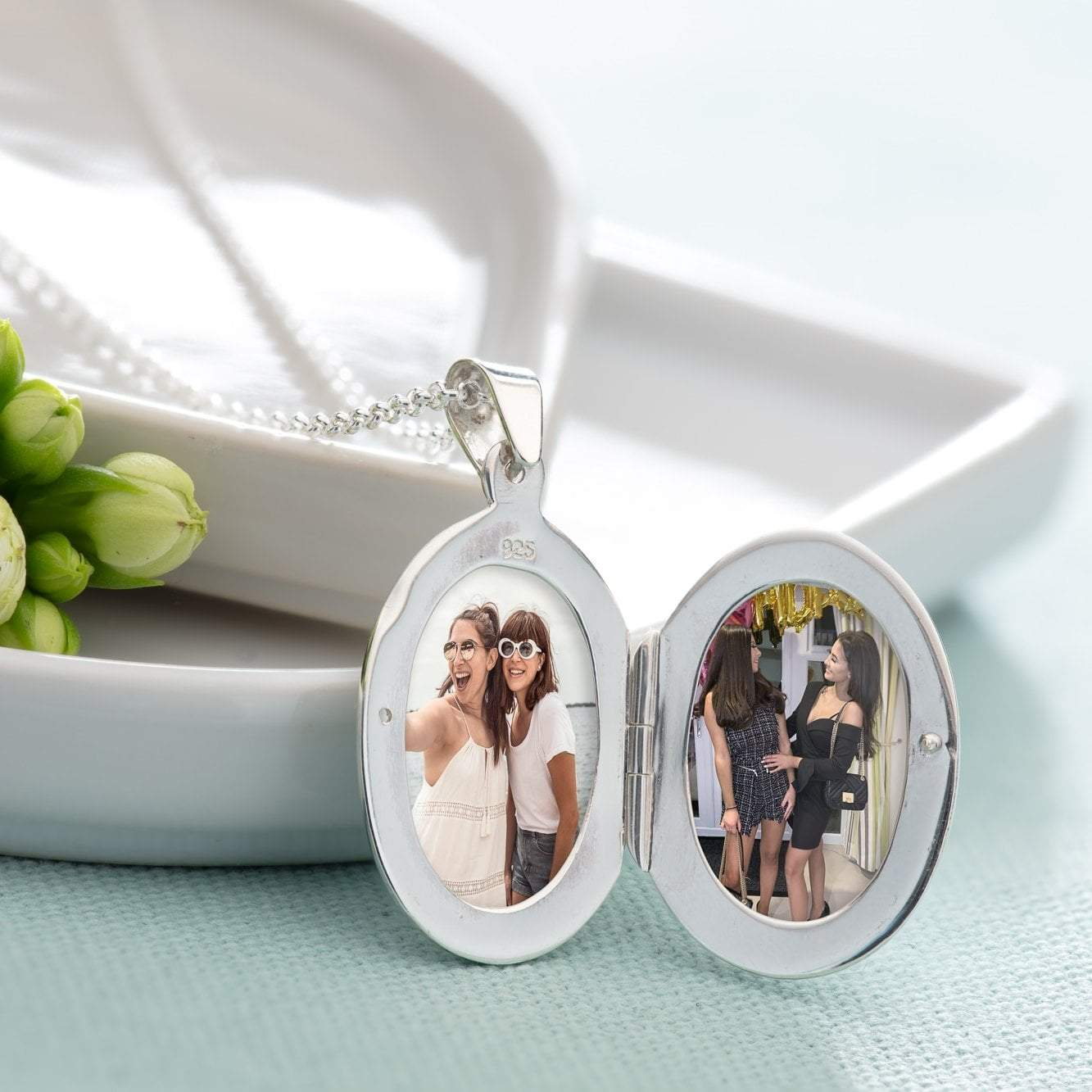 Engraved Silver Oval Locket Necklace - Lily Charmed