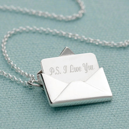 Personalised Silver Envelope Necklace with Engraved Insert - Lily Charmed
