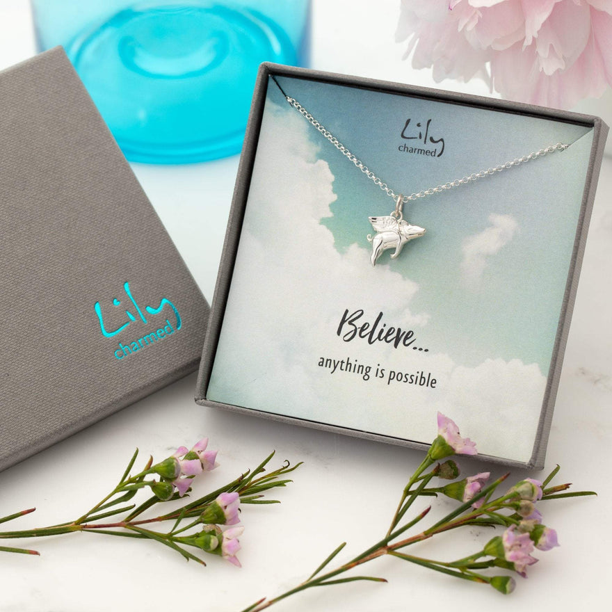 Silver Flying Pig Necklace with 'Believe' Message