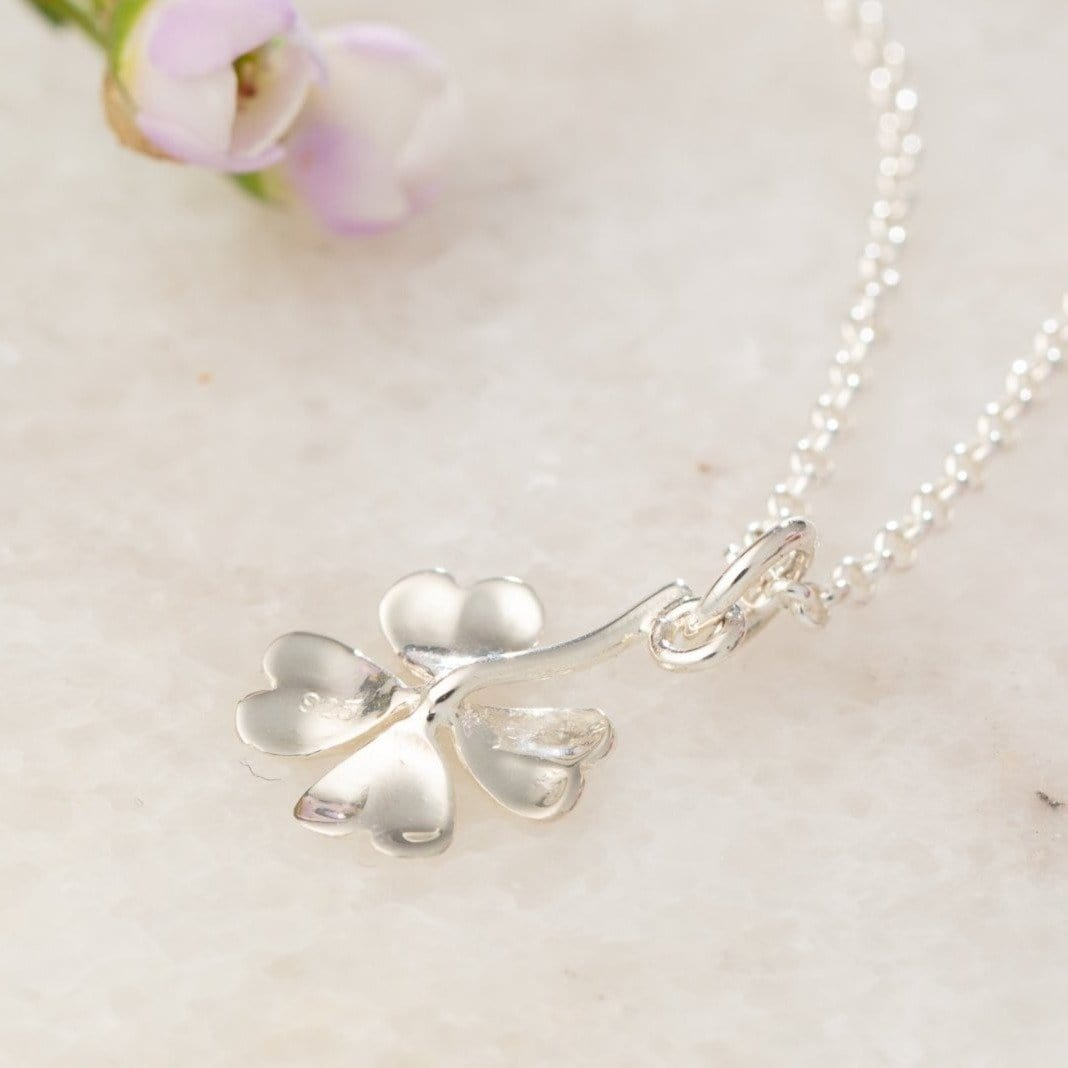 Personalised Silver Four Leaf Clover Necklace - Lily Charmed