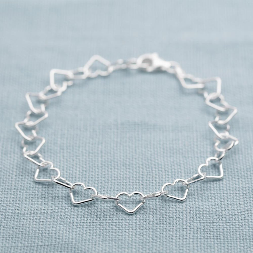 Silver Mother and Daughter Heart Bracelet Set