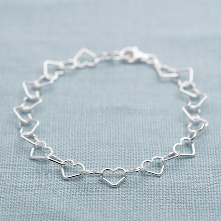 Personalised Silver Heart Bracelet - Lily Charmed