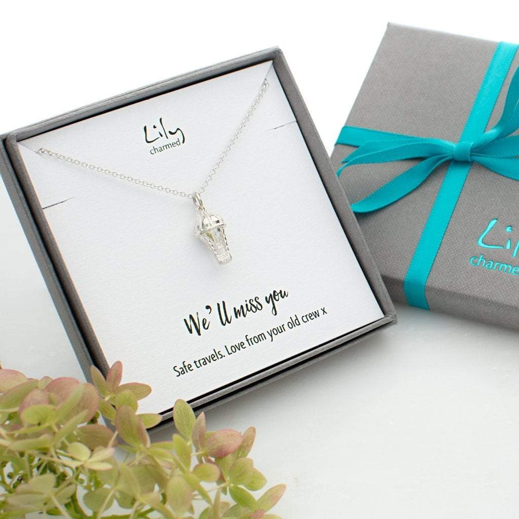 Personalised Silver Hot Air Balloon Necklace - Lily Charmed