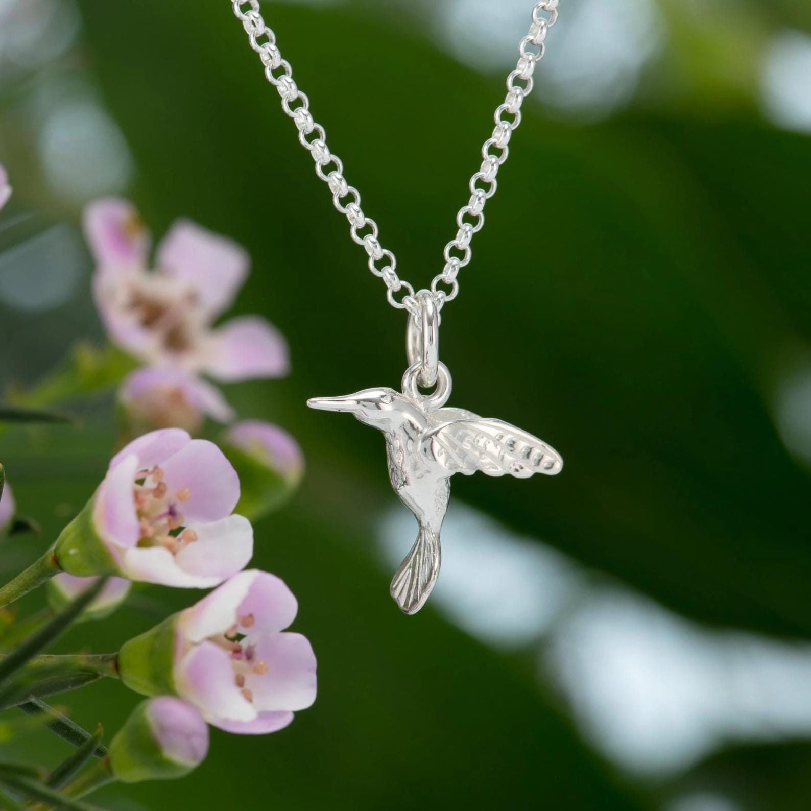 Personalised Silver Hummingbird Necklace