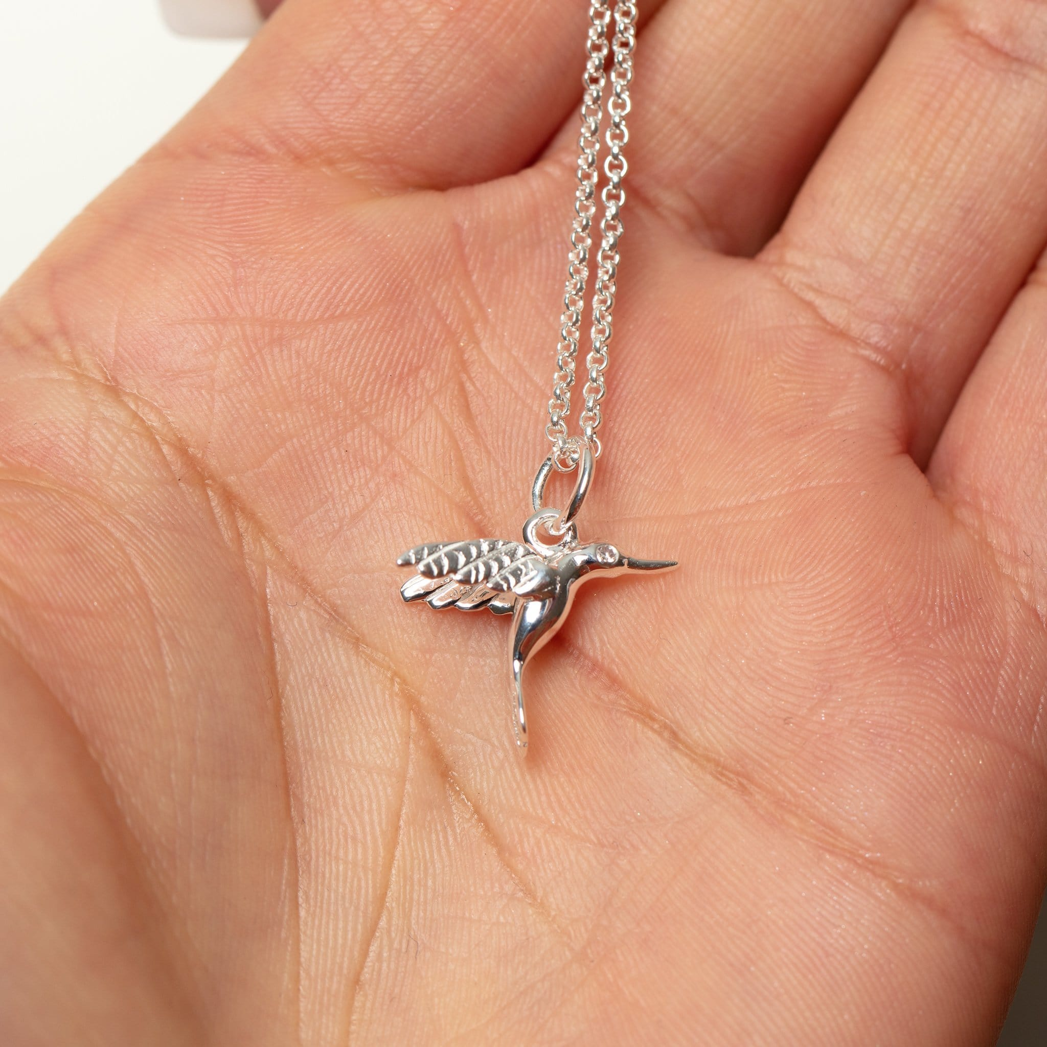 Personalised Silver and Diamond Hummingbird Necklace - Lily Charmed