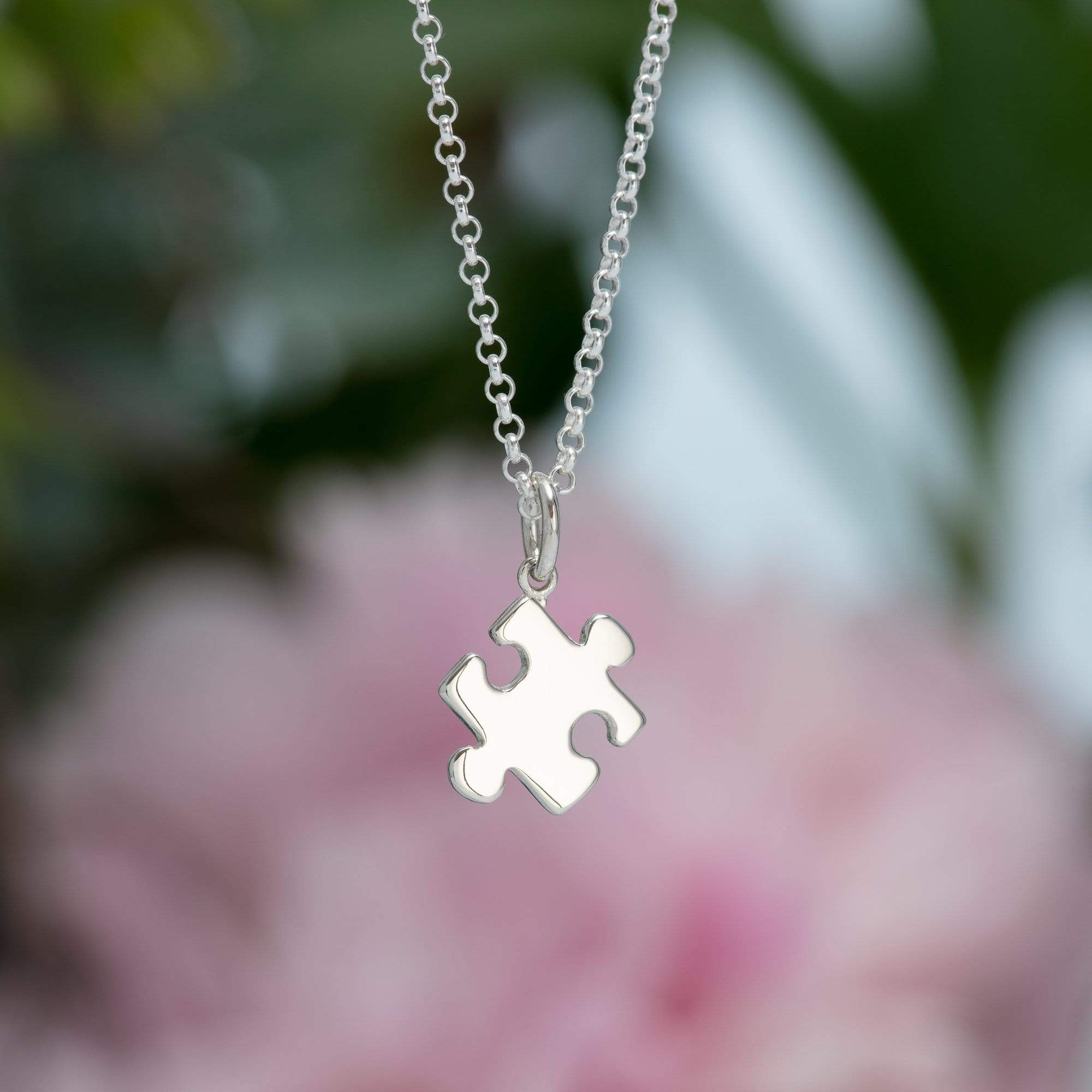 Personalised Silver Jigsaw Necklace - Lily Charmed
