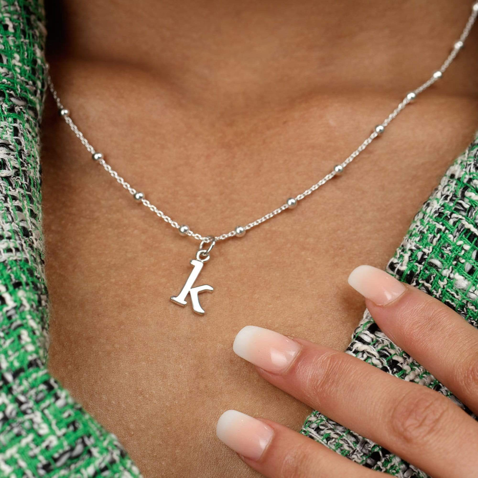 Personalised Silver Satellite Chain Initial Necklace - Lily Charmed