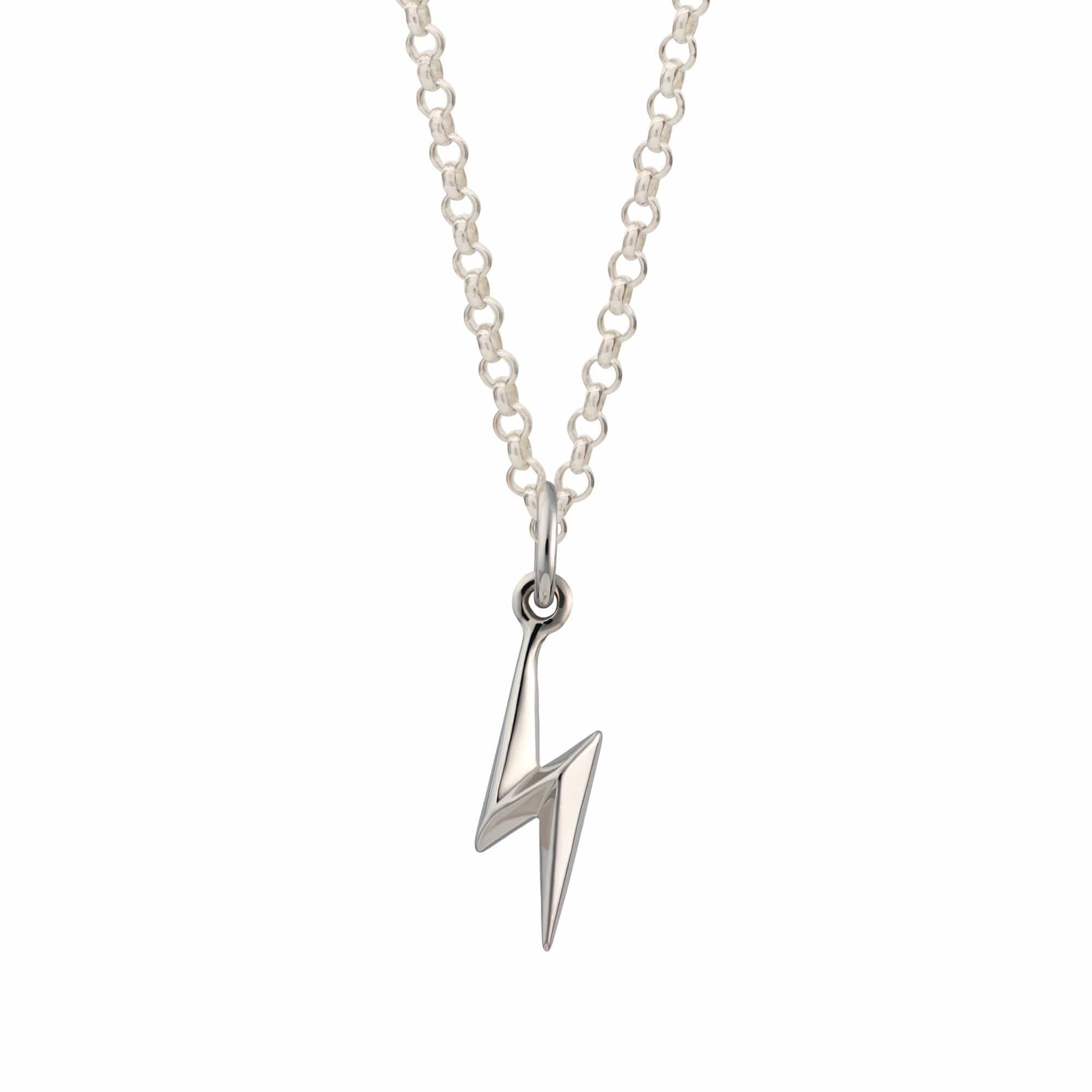 Personalised Silver Lightning Bolt Necklace