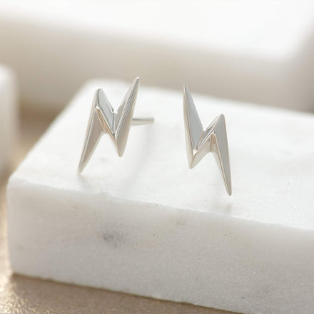 Silver Lightning Bolt Stud Earrings