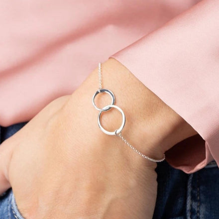 Personalised Silver Linked Circles Bracelet - Lily Charmed