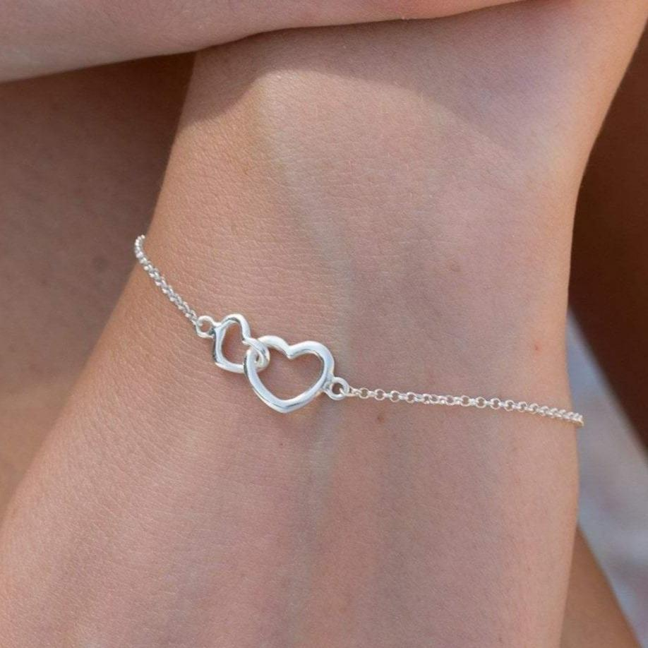 Personalised Silver Linked Hearts Bracelet