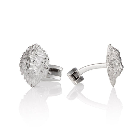 Silver Lion Head Cufflinks - Lily Charmed