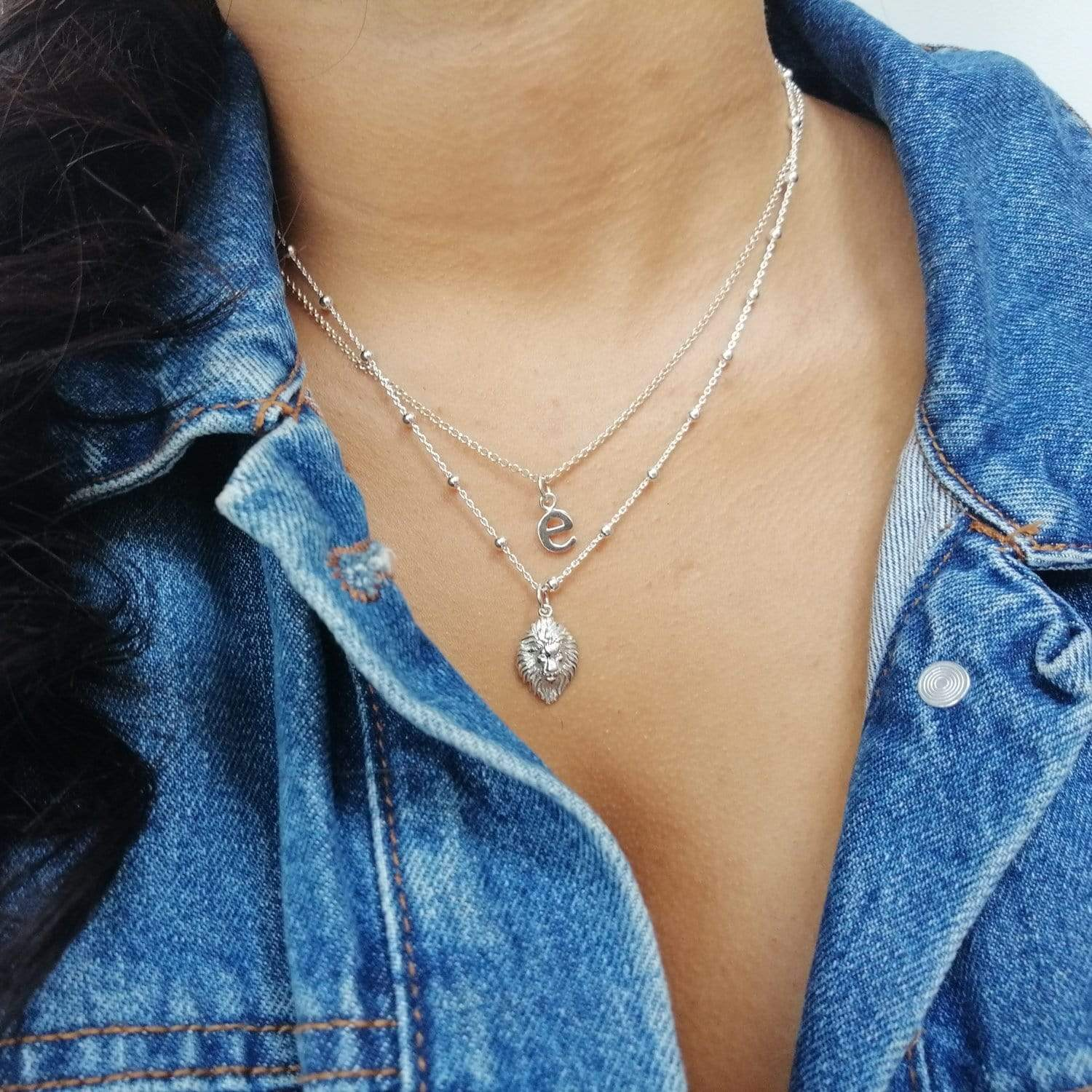 Personalised Silver Lion Head Satellite Chain Necklace - Lily Charmed