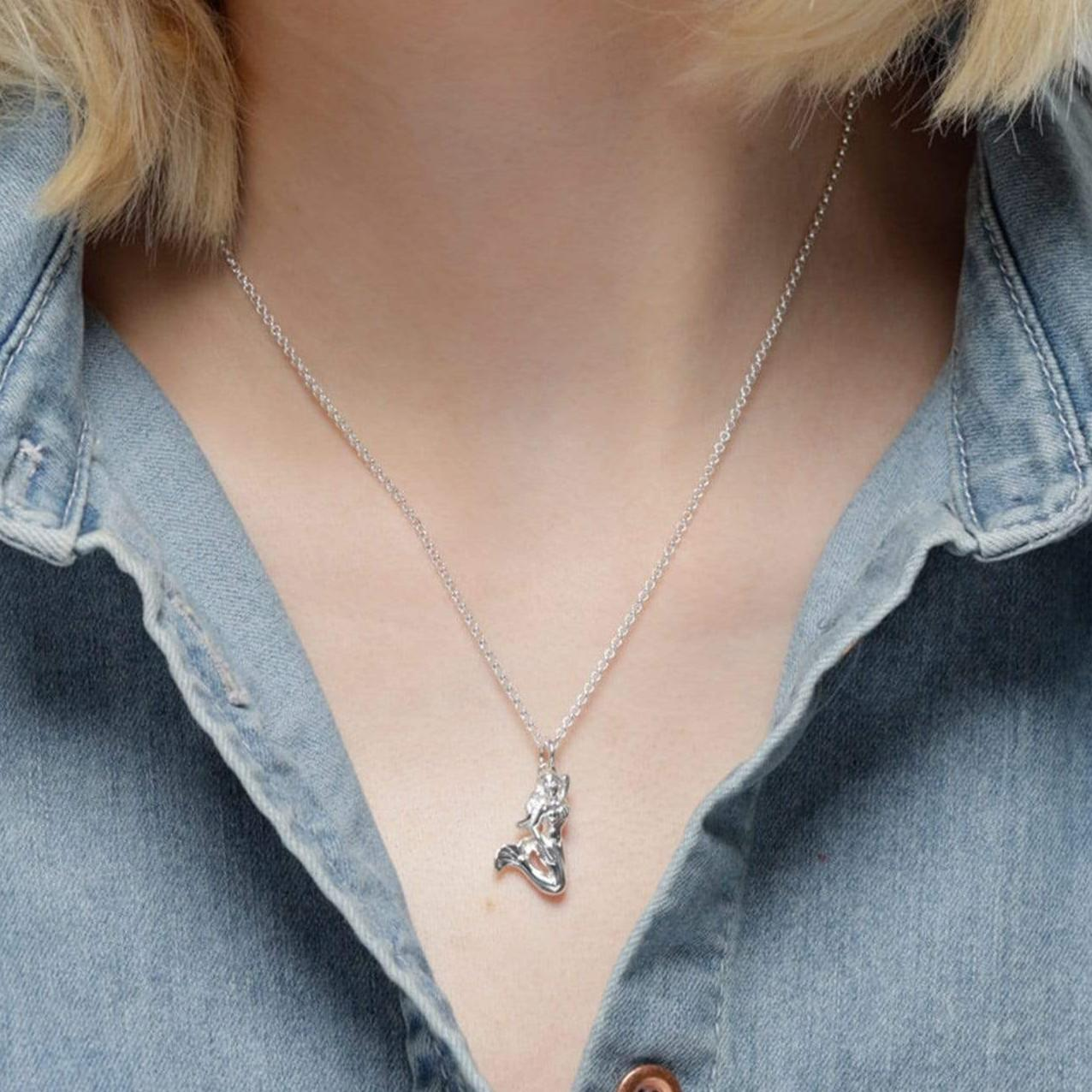 Personalised Silver 3D Mermaid Necklace