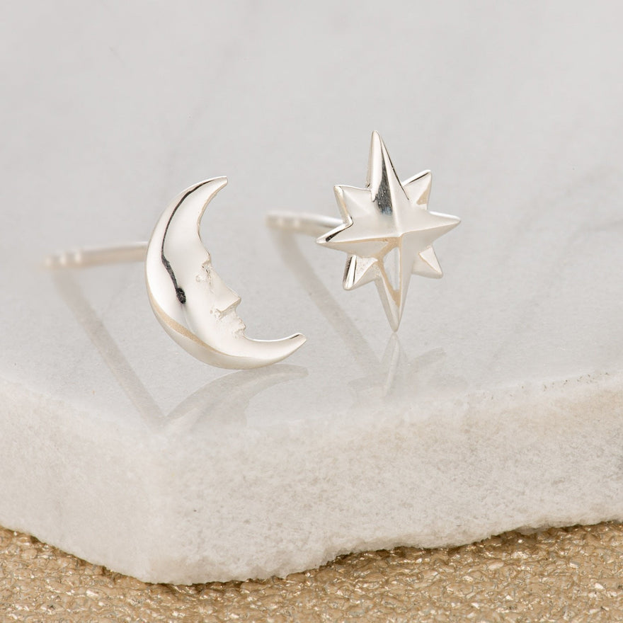 Silver Moon and Star Stud Earrings