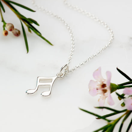 Children's Personalised Silver Music Note Necklace - Lily Charmed