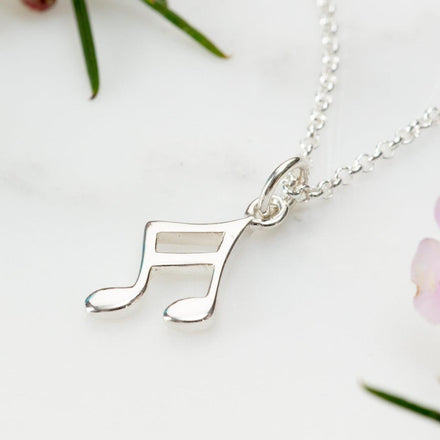 Personalised Silver Music Note Necklace - Lily Charmed