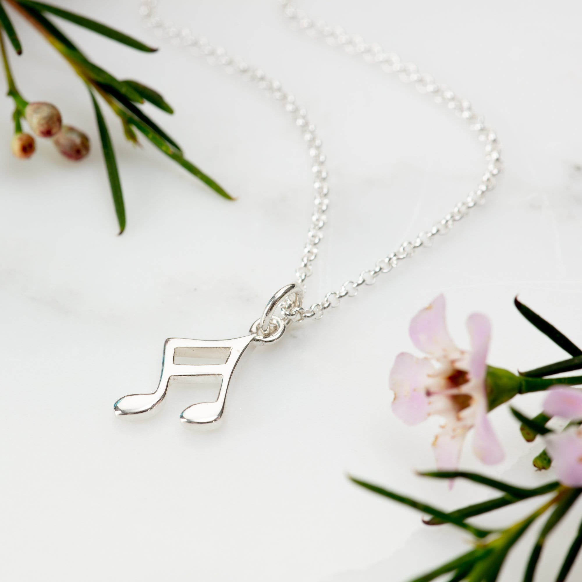 Silver Music Note Jewellery Set With Stud Earrings - Lily Charmed