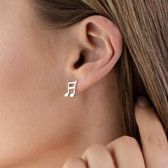 Silver Music Note Stud Earrings - Lily Charmed