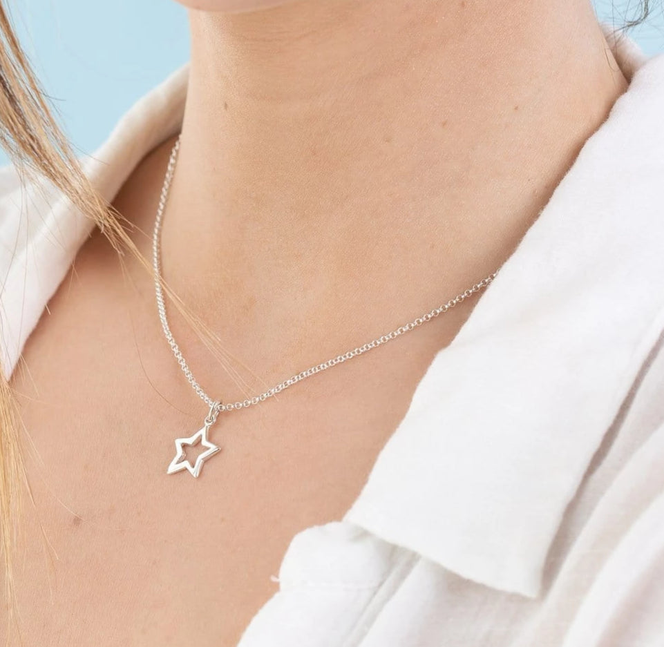 Personalised Silver Open Star Necklace - Lily Charmed