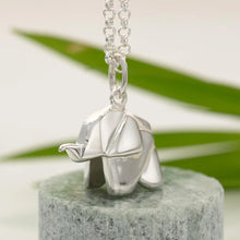 Personalised Silver Origami Elephant Necklace - Lily Charmed