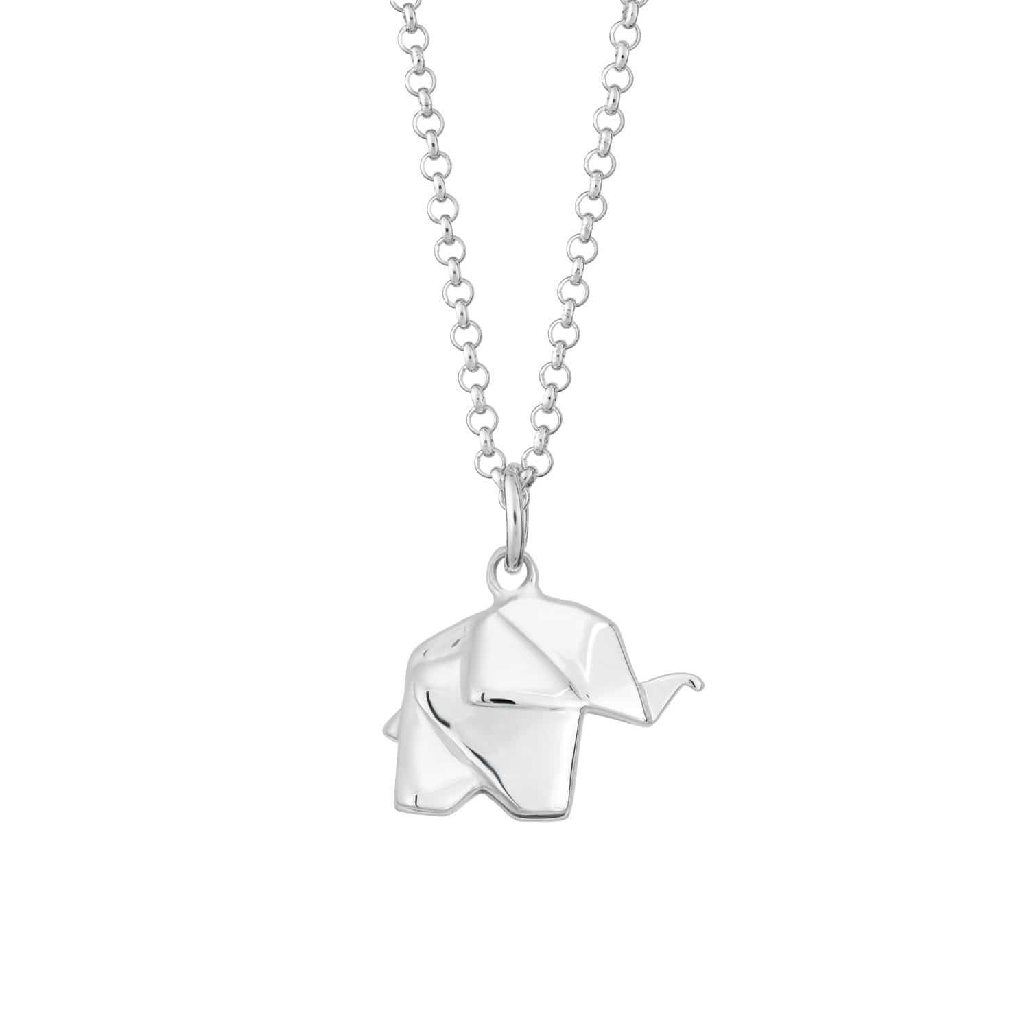 Personalised Silver Origami Elephant Necklace