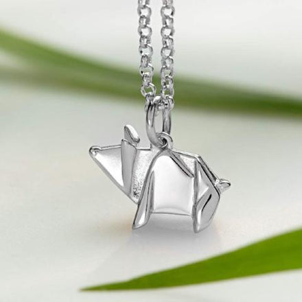 Personalised Silver Origami Pig Necklace