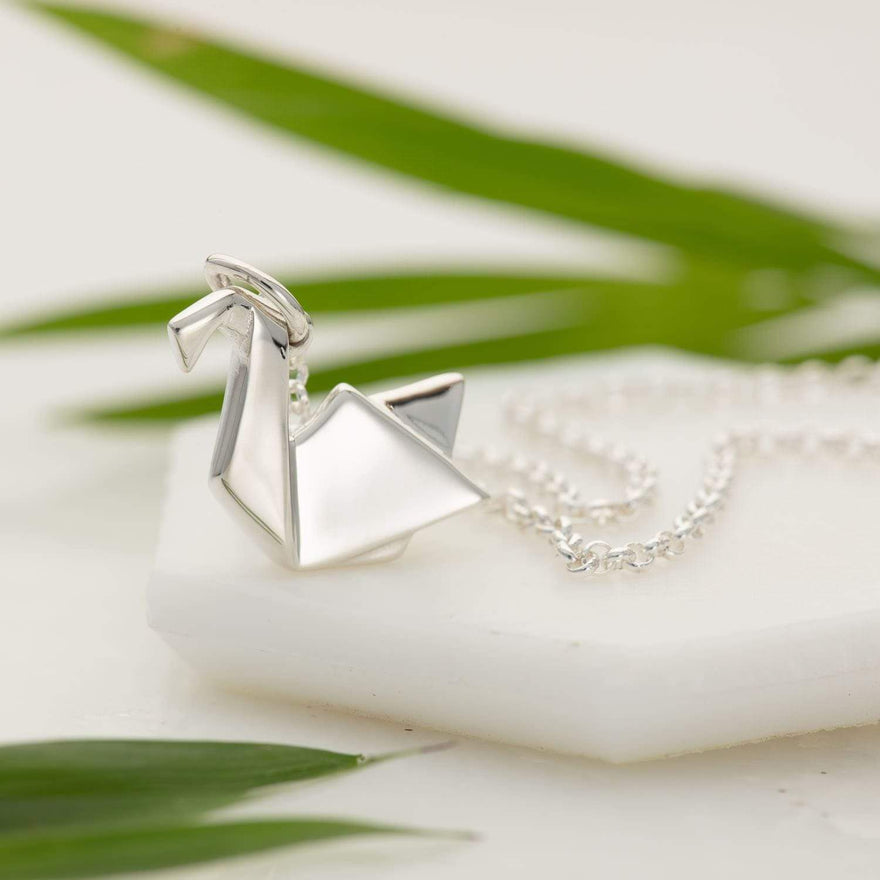 Personalised Silver Origami Swan Necklace