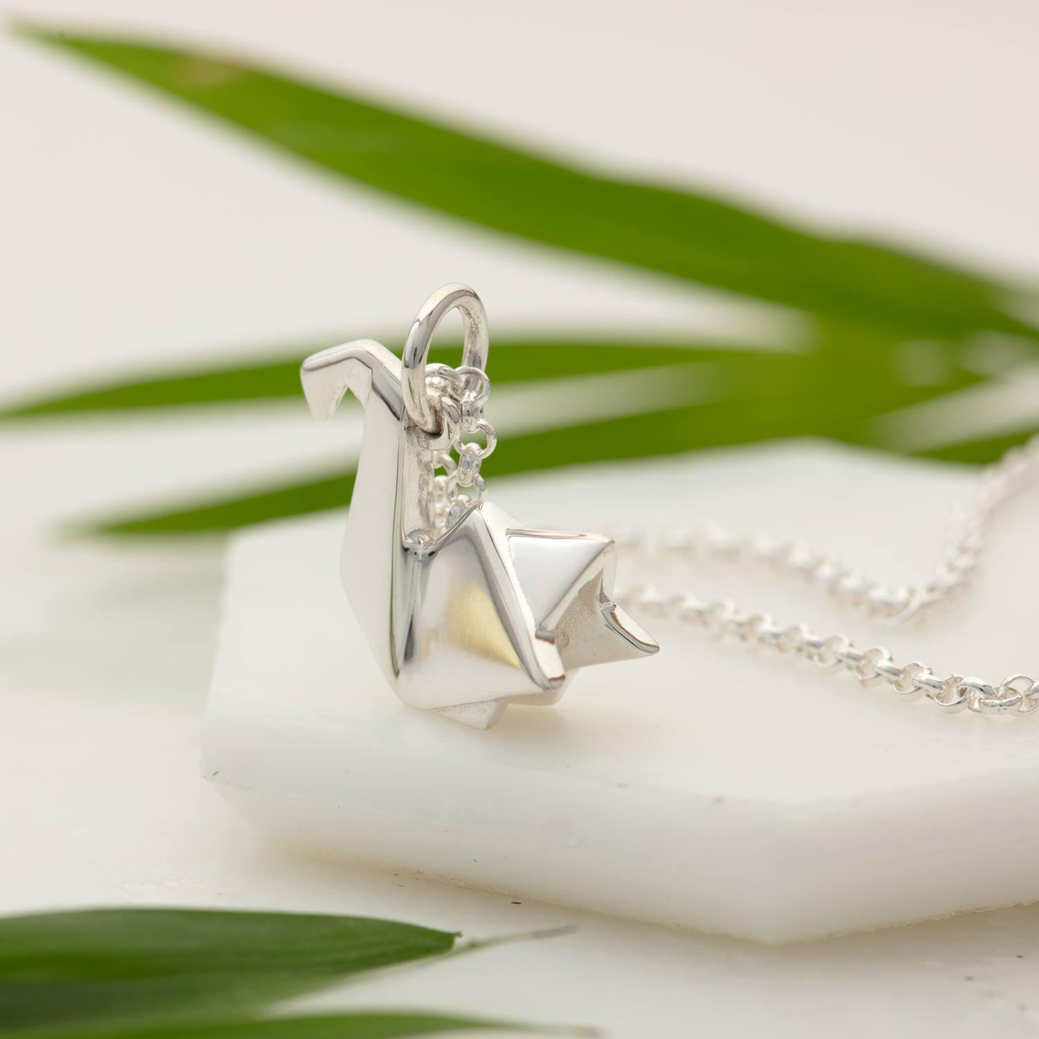 Personalised Silver Origami Swan Necklace - Lily Charmed