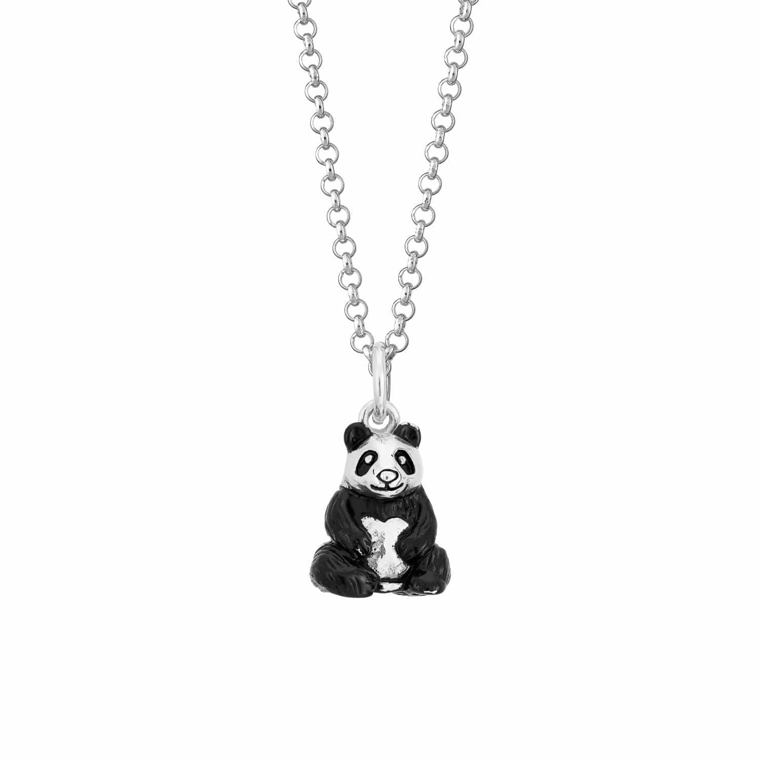 Children's Personalised Silver Panda Necklace - Lily Charmed