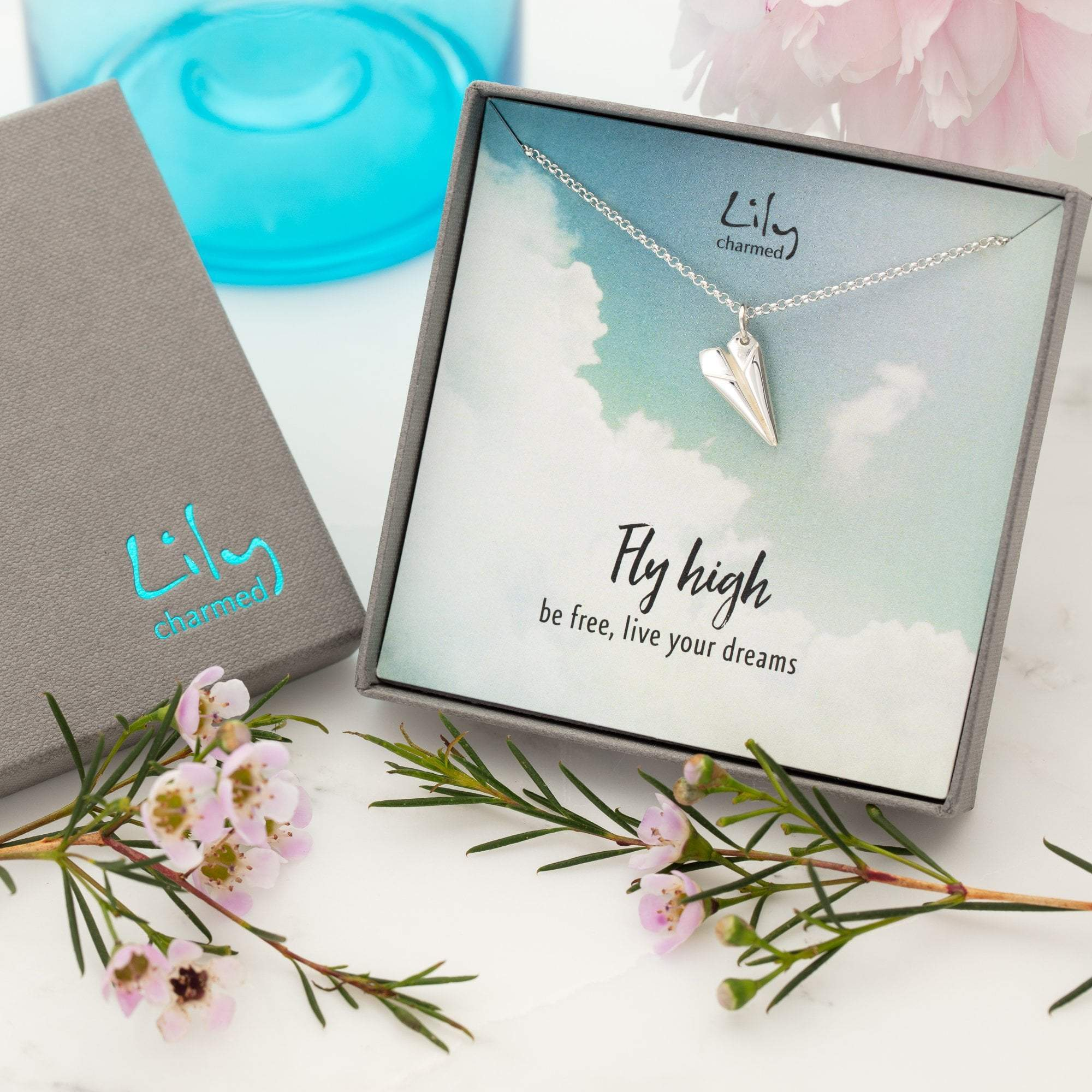 Silver Paper Plane Necklace with 'Fly High' Message - Lily Charmed