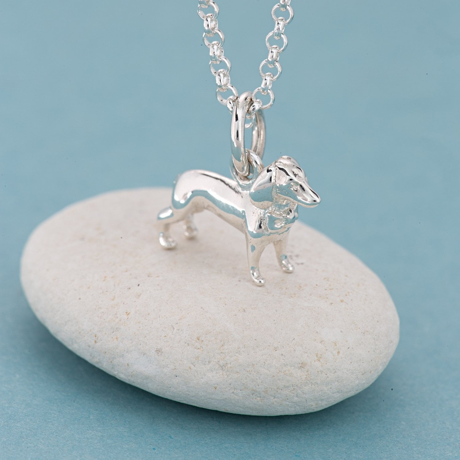 Personalised Silver Sausage Dog Necklace - Lily Charmed
