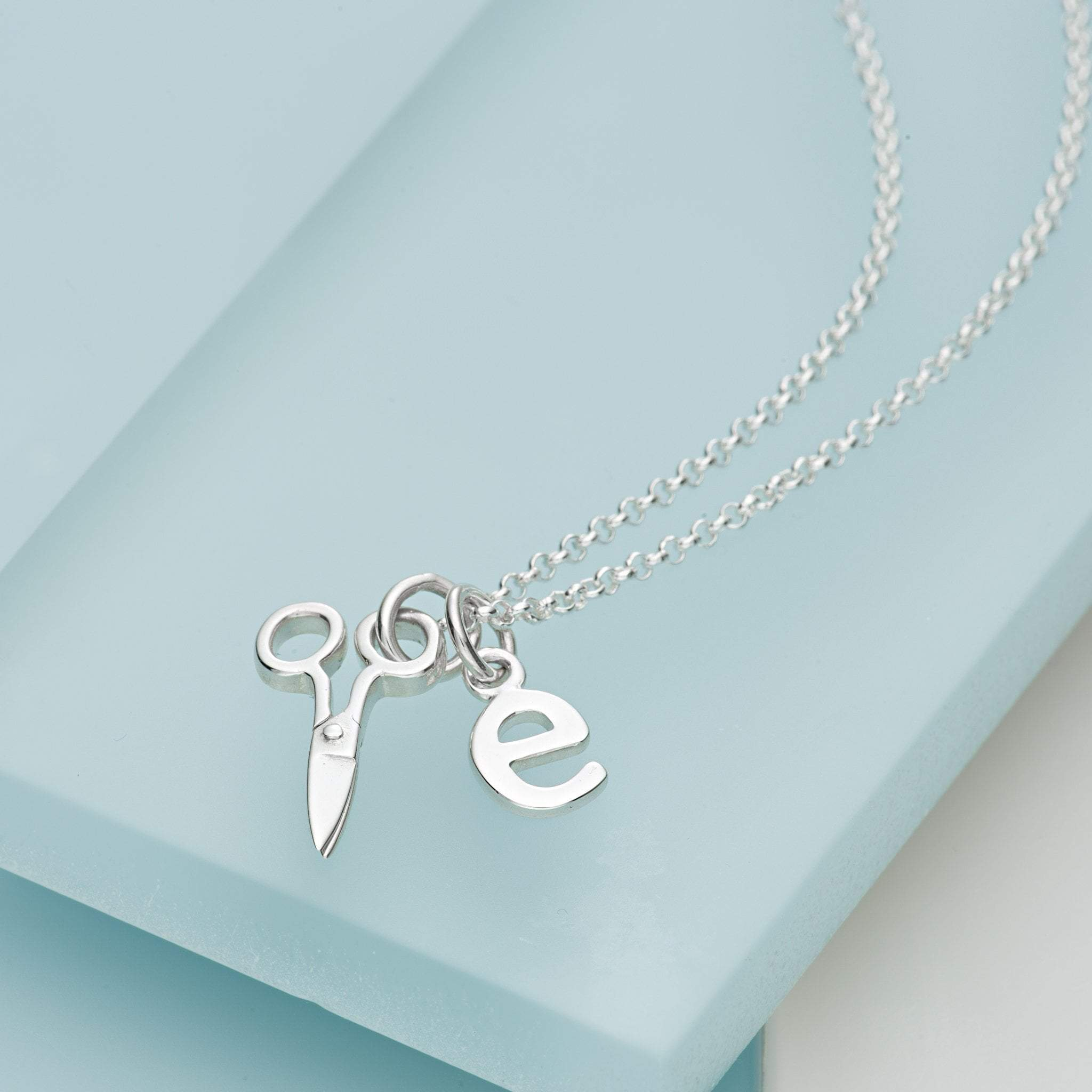 Personalised Silver Scissors Necklace
