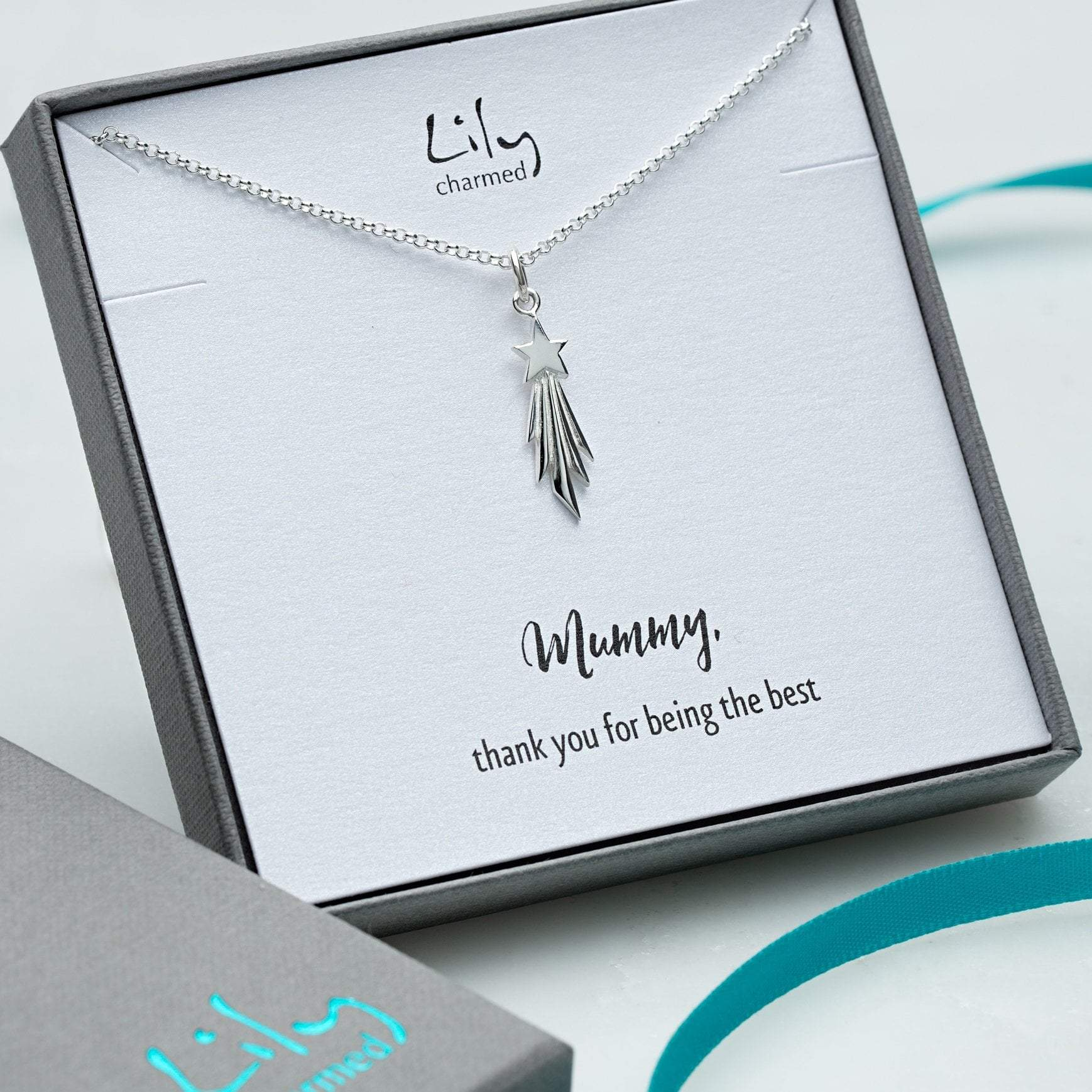 Personalised Silver Shooting Star Necklace - Lily Charmed