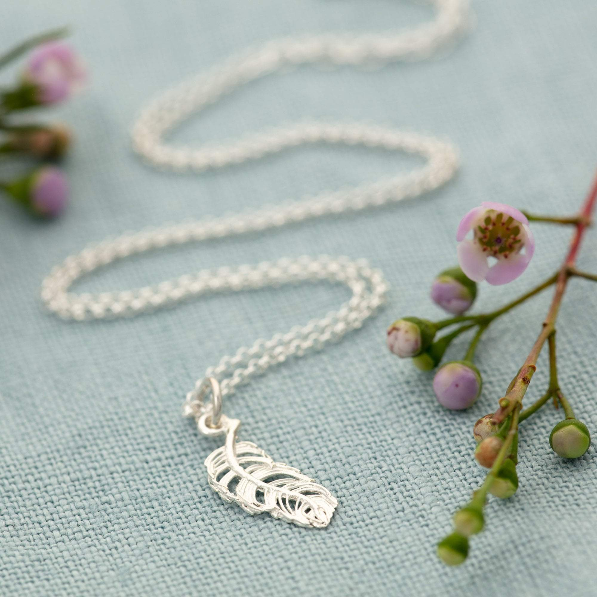 Personalised Silver Feather Necklace - Lily Charmed