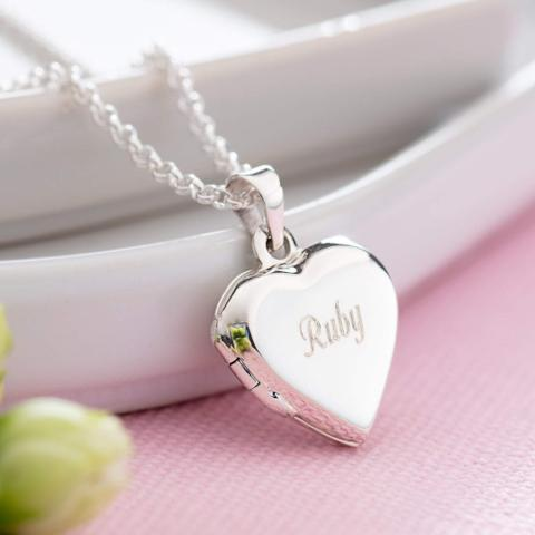 Children's Engraved Silver Heart Locket Necklace - Lily Charmed