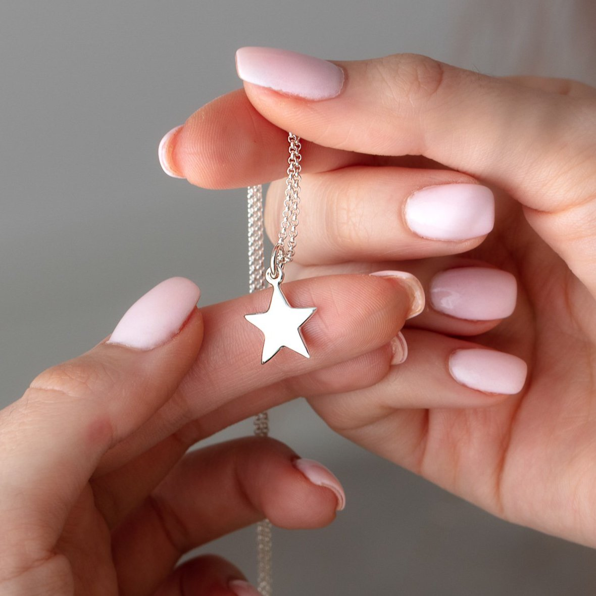 Personalised Silver Solid Star Necklace - Lily Charmed