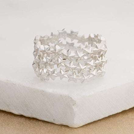 Silver Star Cluster Stacking Ring