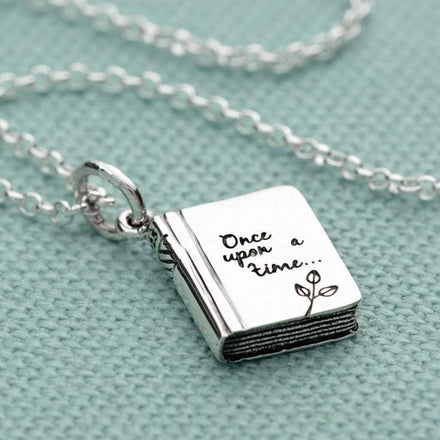 Personalised Silver Story Book Necklace - Lily Charmed